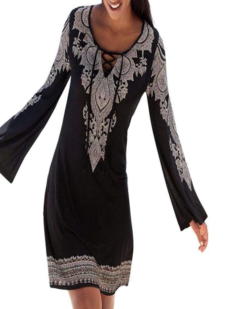 OWMEOT Women's Bohemian Vintage Printed Loose Casual Boho Tunic Dress