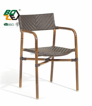 elegant aluminum bamboo look french cafe rattan bistro chair - buy