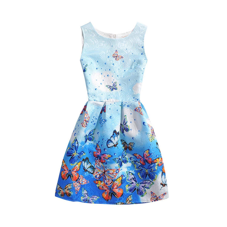 Habitaen 2018 Girls Dress Summer Butterfly Floral Print Teenagers Dresses