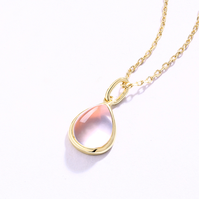 Natural gemstone teardrop solitaire pendants 925 silver pink rose quartz pendant
