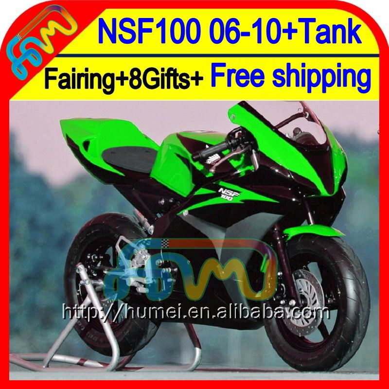 Green blk 8Gift For HONDA NSF100 06-10 NSF 100 63HM19 NSF-100 Green black 06 07 08 09 10 2006 2007 2008 2009 2010 Race Fairing