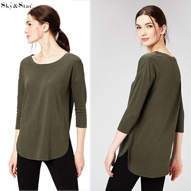 Daily Women's Cotton and Modal 3/4-Sleeve Casual Loose Scoop Neck Tunic