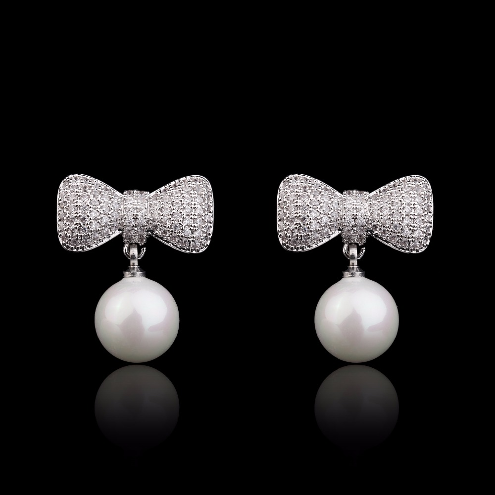 copper Platinum plated bowknot pearl channel designs bridal women earring