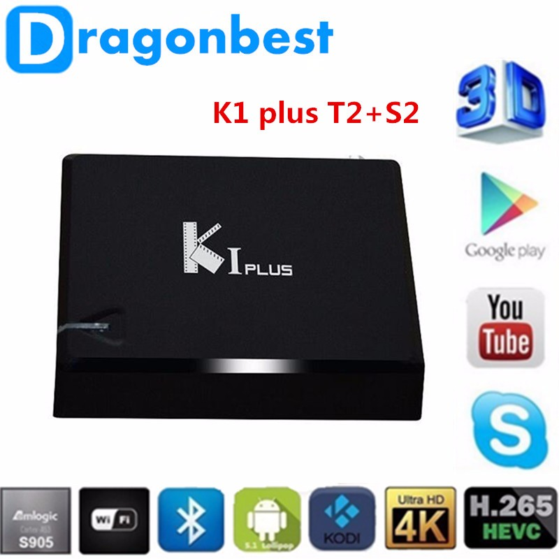 2016 Newest K1 plus Amlogic S905 Quad Core 1080p 4K 1G+8G Android 5.1.1 TV Box with DVB S2 T2