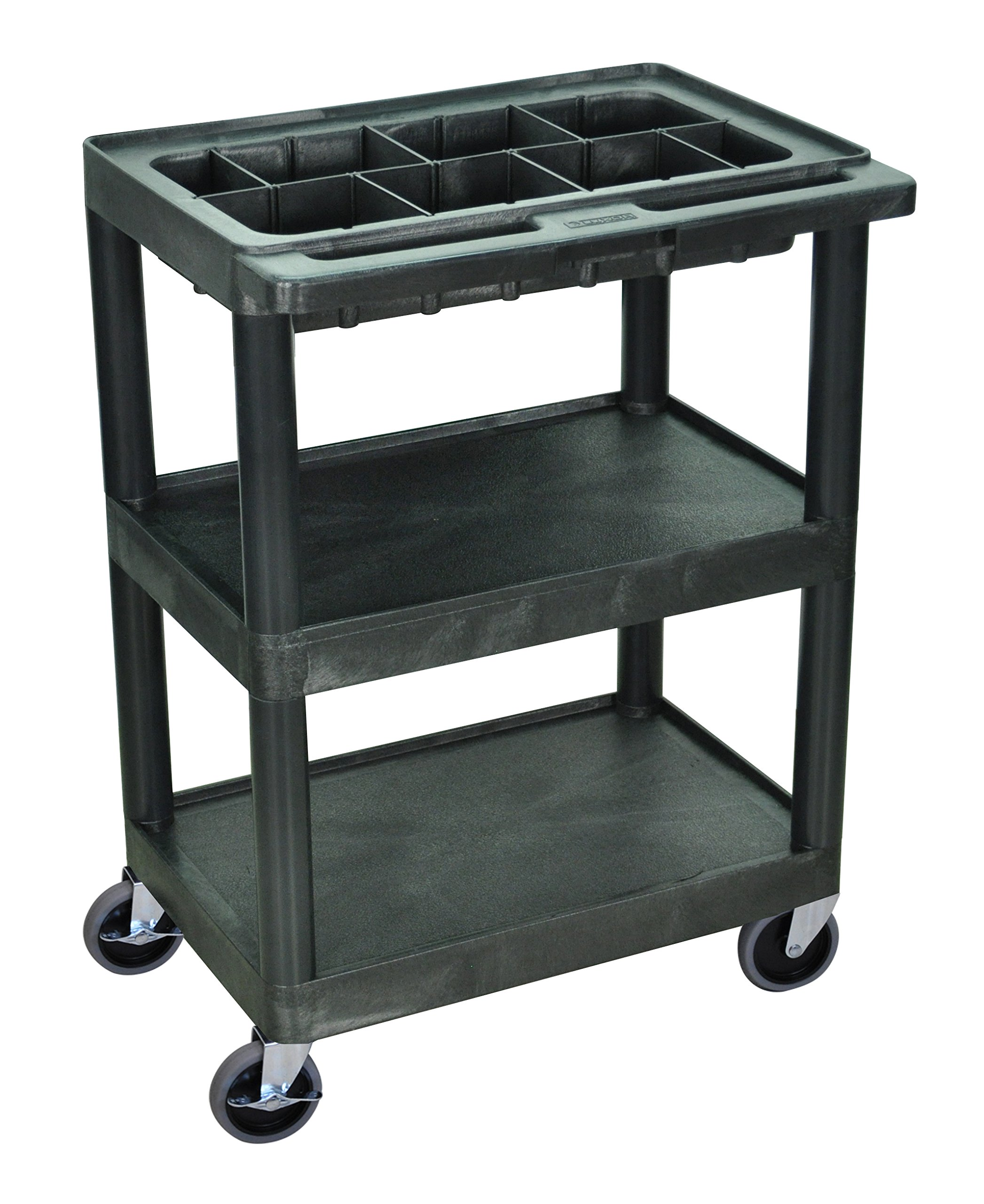 LUXOR MTC25D/N-B Utility Tool Cart with Dividers, 3 Shelves, Black