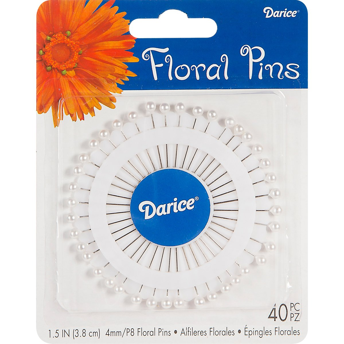 "Darice Corsage Pins 1-1/2"" 40/Pkg-Pearl White"