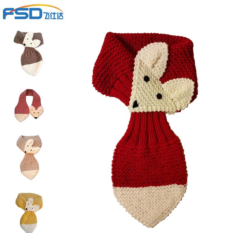 OEM Fashion Kids Knit Fox Scarf For Children