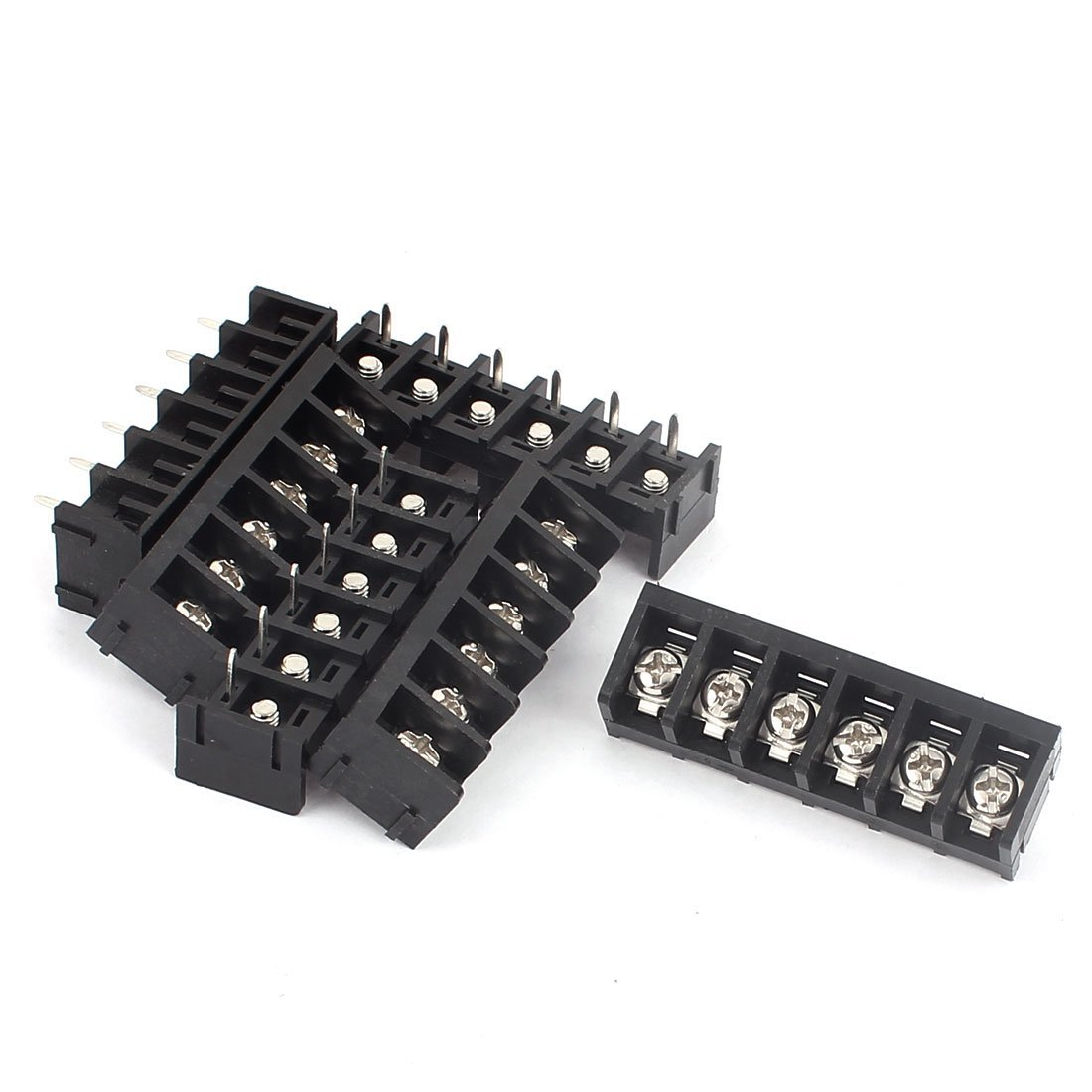 Aexit 6Pcs 6 Position Wire Connector Screw Barrier Terminal Strip Blocks AC 300V 30A