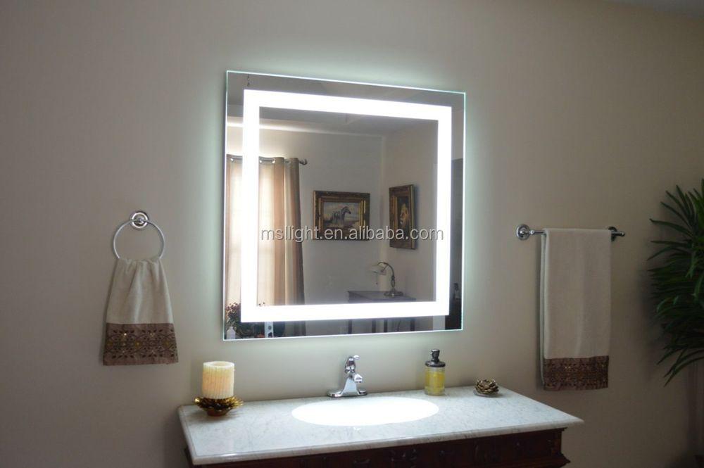 hogar moderno maquillaje iluminado de aluminio pulido espejo hoja salon peluquera espejo