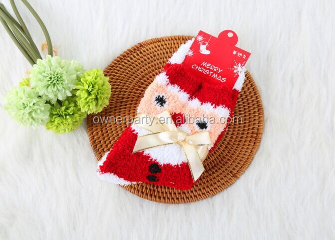Wholesale Winter Novelty Organic Cotton Sock Fashion Christmas Knitted Lace Boot Cartoon Tube Baby Adult Socks