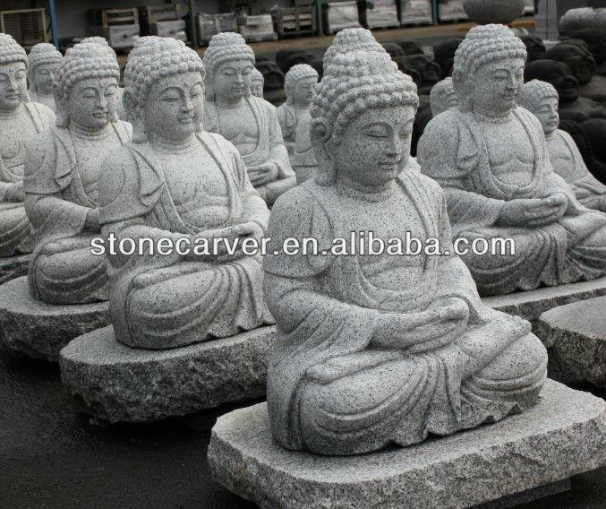 Grande statue bouddha en pierre grandeur nature pour - Tete de bouddha en pierre pour jardin ...