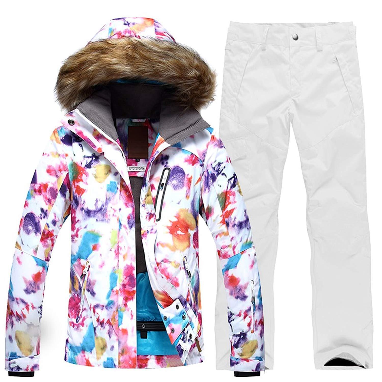 HOTIAN Womens Windproof Snow Jacket Insulated Fur Hoodie Ski Jacket + Pants Snowsuit
