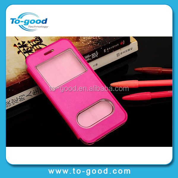 OEM Factory China Wholesale PU Leather Cell Phone Cover Dual Windown Cheap Moible Phone Case For iPhone 6(Rose Red)