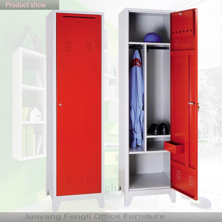 Knock down single door metal army wardrobe 1 door steel army safe locker