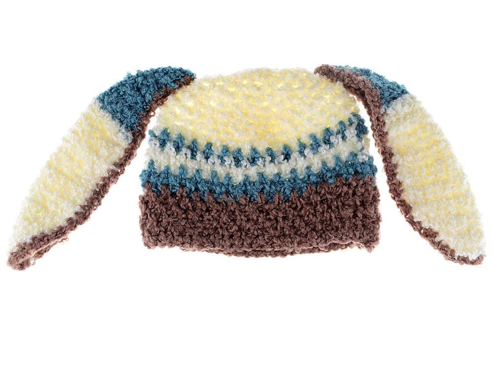 75a14ad29e5 Get Quotations · Small Bunny Beanie - Premium Blue and Brown Bunny Hat with  Ears for baby and toddler