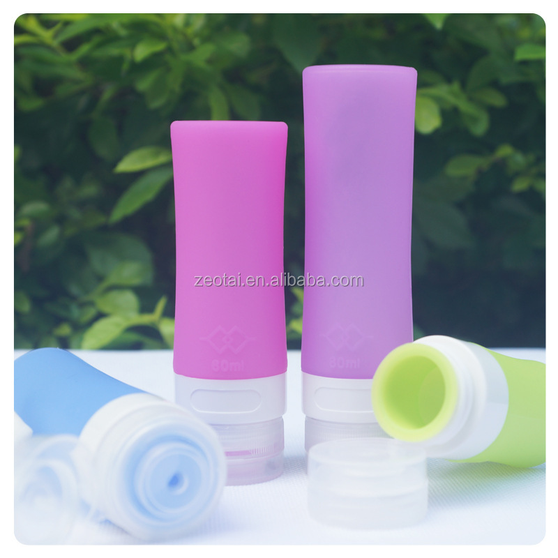 Round squeezable outdoor travel silicone bottle for shampoo