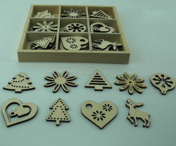 Engraving wood christmas decorations with wooden box wholesale