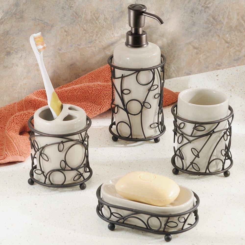 Bathroom Accessory Sets Bathroom Accessories Bath Accessory Set Bronze  Metal W Ceramic Vanilla Insert Twig Design