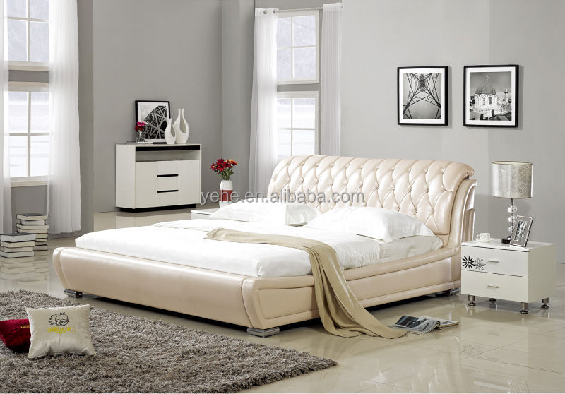 Cream Leather Bed Button Leather Double Bed Buy Cream White
