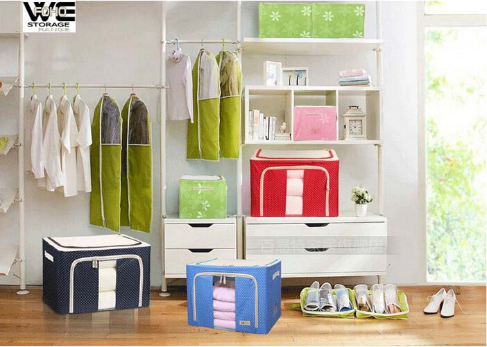 FH-CL0022 simple fabric and iron tube storage box for cloth