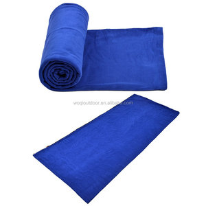 Woqi-Hooded Polar Fleece Sleeping Bag For Summer Camping or Liner For Winter,Micro-Fleece Blanket Picnic Sheet