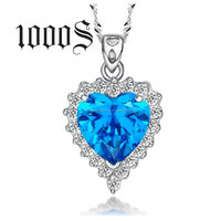 China Jewelry Manufacturer Wholesale Costume 925 Sterling Silver Heart Of The Ocean Pendant Necklace