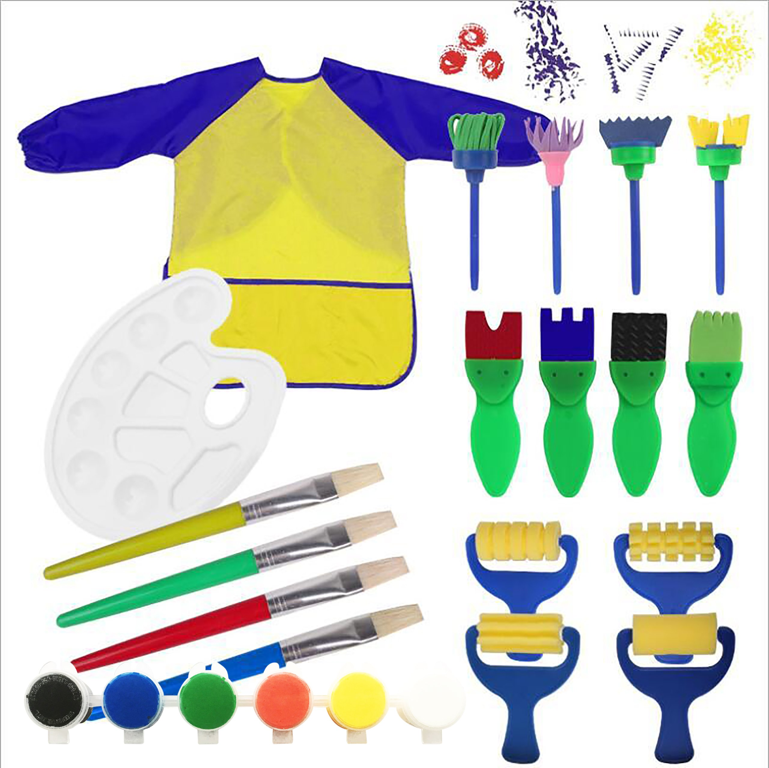 Kids Paint Set Bundle with Yellow/Blue Long Sleeve Art Smock, Brushes, Paints and Palette (19 items)
