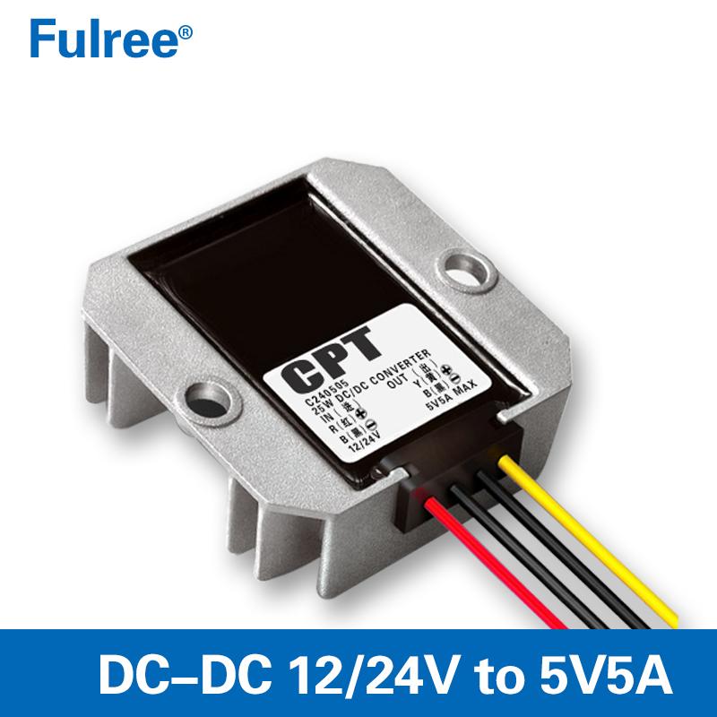Buck Converter Voltage Regulator 12V//24V to 5V 5A USB Car Power Adapter