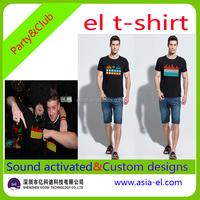 Custom light up t shirt/sound activated led t shirt/el flashing t shirt with inverter for party