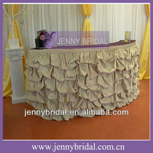 TS001B2 2013 New hot sale fancy ruffled white and teal banquet and wedding pleated table cloth