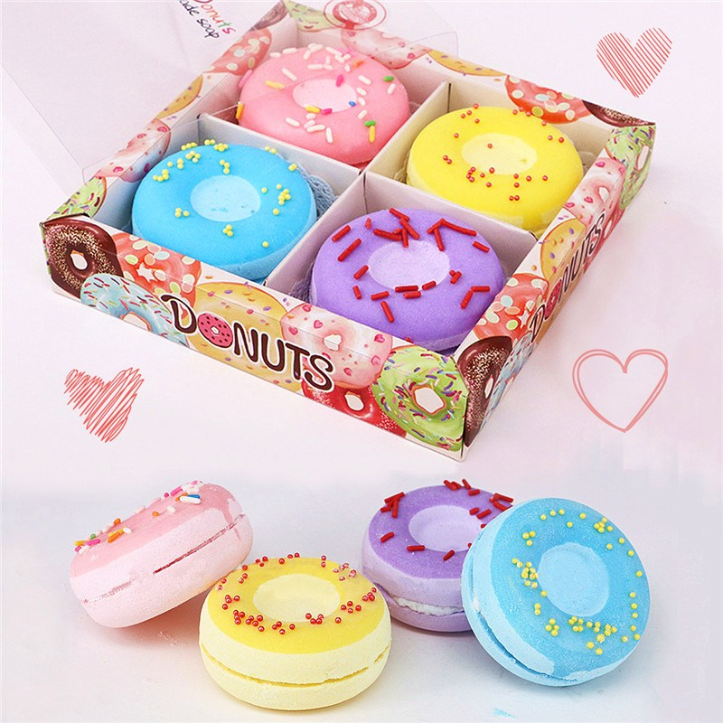 Private Label Biologische Hydrateren Droge Huid Fruit Bad Fizzer Hart Donut Bubble Bad Bommen Gift Set Voor Spa
