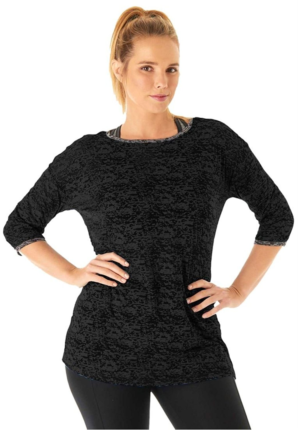 1d52cb5c301 Get Quotations · Bargain Catalog Outlet Fullbeauty Sport Plus Size Relaxed  Burnout Boatneck Tunic