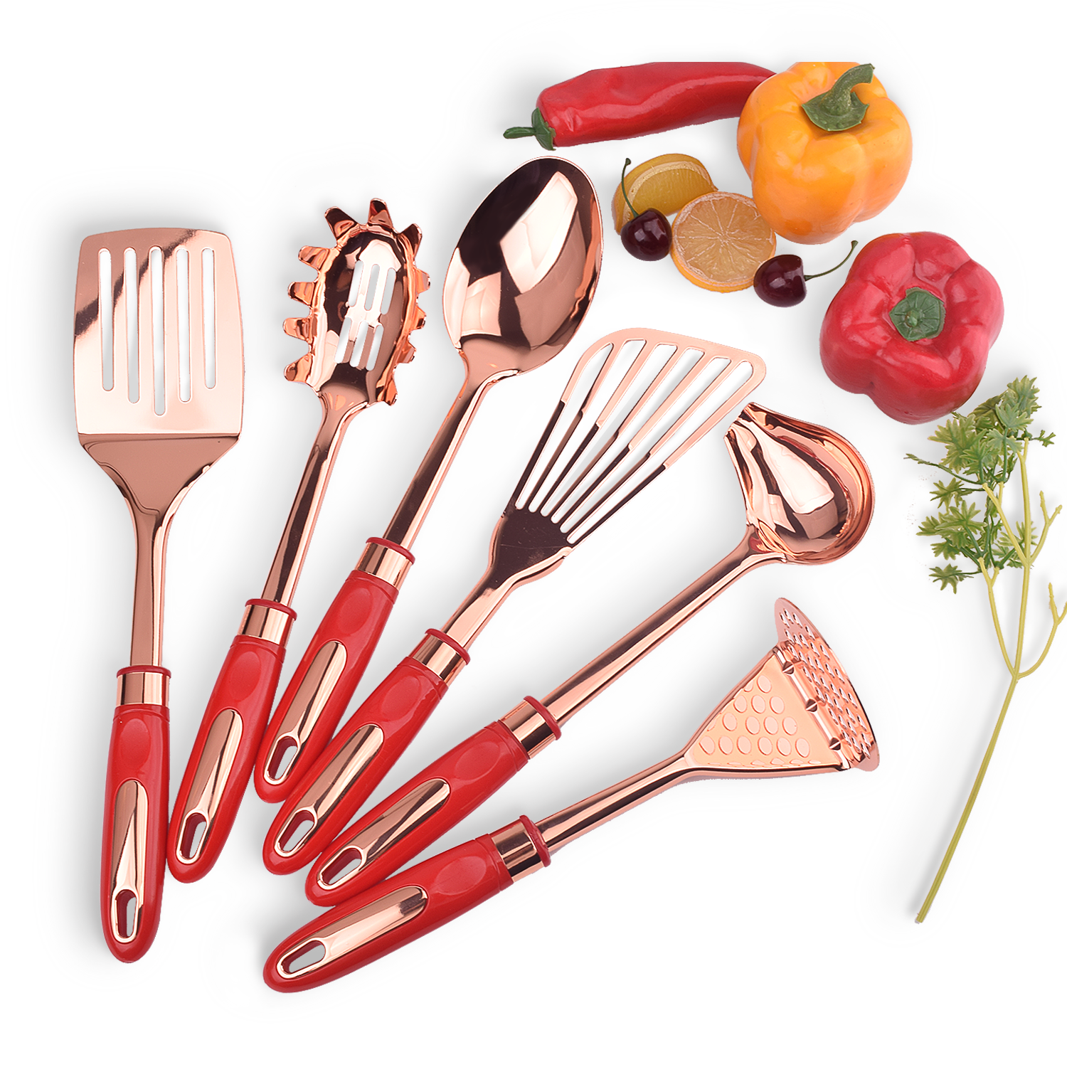 New Trend Copper Plated Stainless Steel Cooking Utensils Set