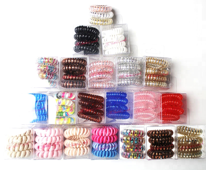 customize PVC box candy color telephone wire hair elastic bands hair ties