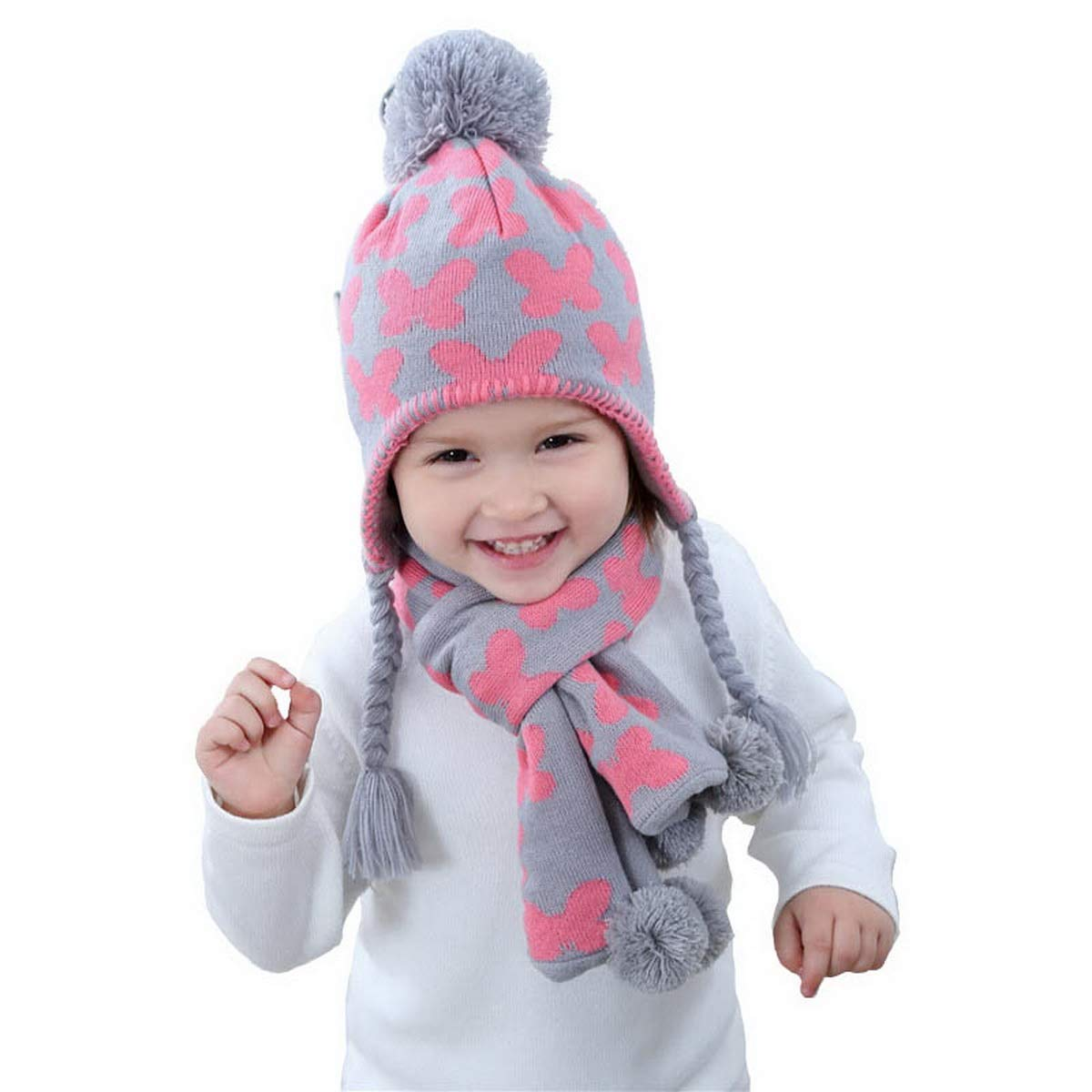 93db74f8a50 Get Quotations · Little Girls Butterfly Beanie Hat and Scarf Set Winter  Warm Set for Girls