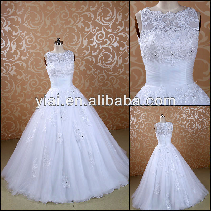JJ3076 High Neck Lace cheap wedding dress