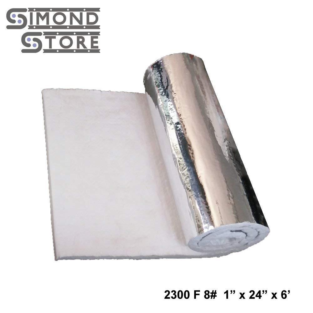 "Aluminium Foil Faced Ceramic Fiber Blanket 8# Density 2300F 1"" x 24"" x 6' for Insulation of Chimney & Exhaust Duct"