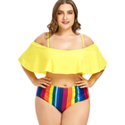 Ruffle Swimwear High Waist Sexy Big Xxxl Swimsuit Woman Women Bikini Plus Size