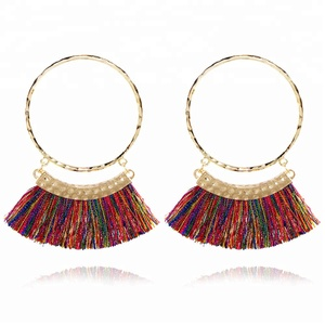 Women Beautiful French Hook Hoop Earrings Dangly Tassels Thread Punk Party Earrings
