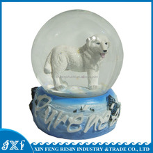 Resin white dog custom made snow globe/water globe/snow ball