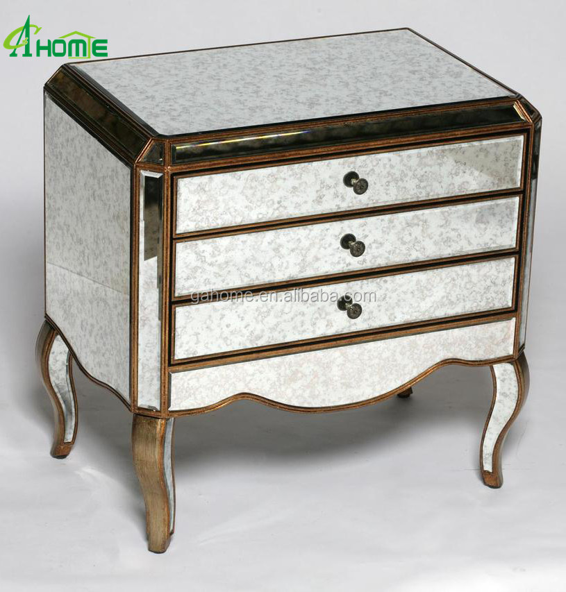 ANTIQUED VENETIAN GLASS 3 DRAWER SIDE TABLE