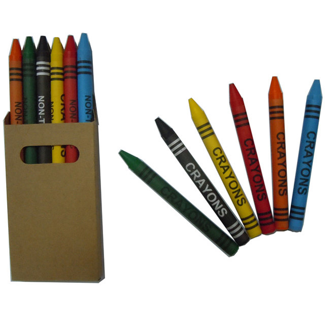6 colour wax crayon set