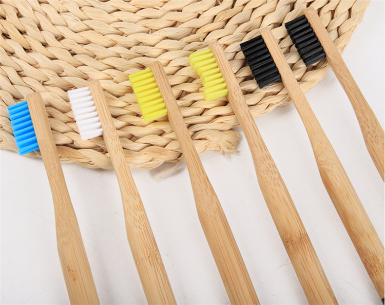 100% biodegradable round handle nylon 4 bamboo toothbrush color