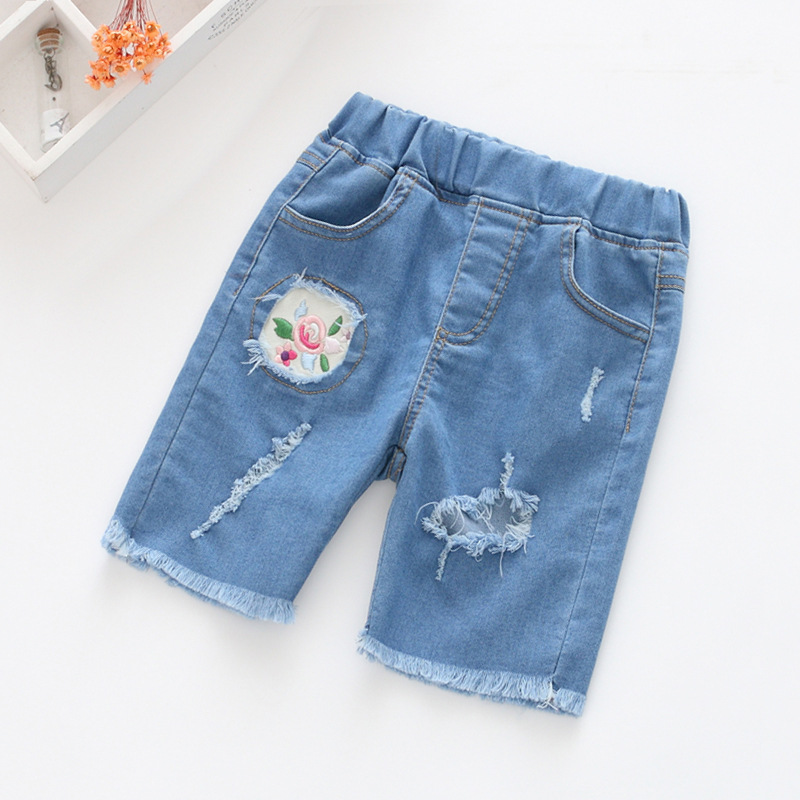 BW18 Girls jeans pants Spring 2017 children's clothing jeans blue trousers casual pants Baby Children Pants