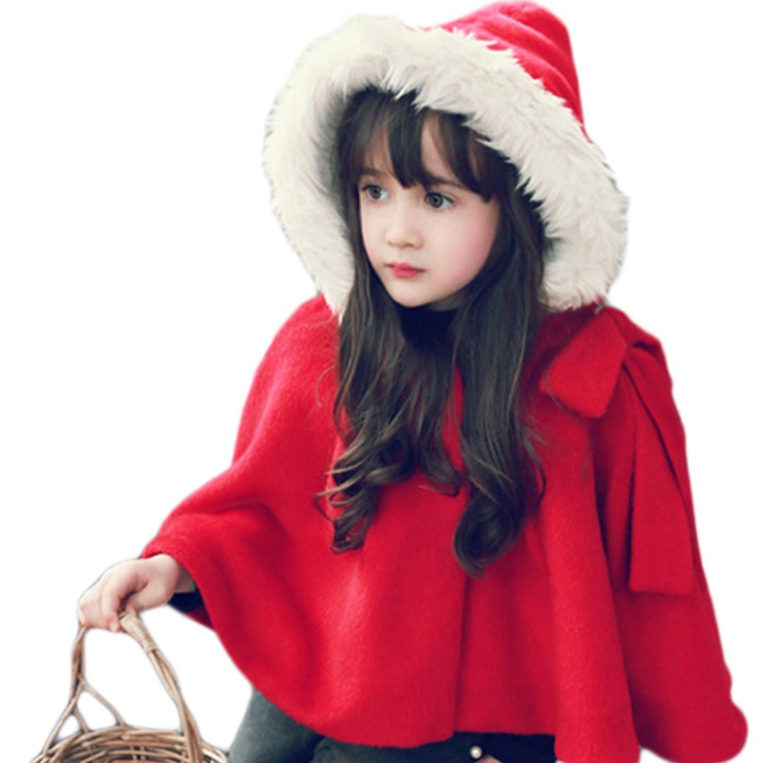 Naimo Children Kid's Cute Thick Red Cape Cloak With Hat Christmas Cape For Children