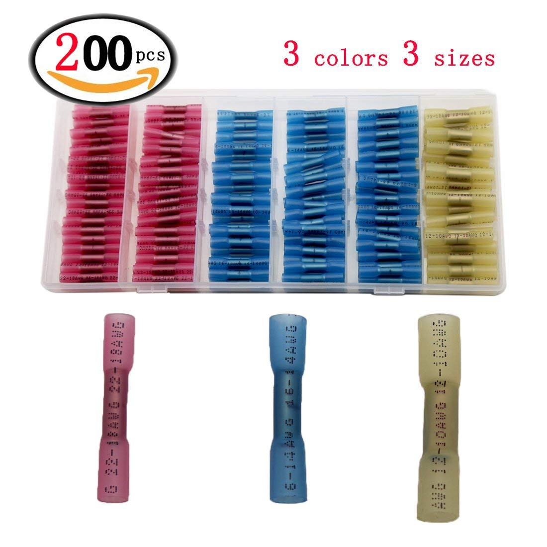 200pcs Heat Shrink Butt Connectors Terminals, Factory Sale Insulated Waterproof Marine Automotive Copper Wire Electrical Kits (3 colors 3 sizes)