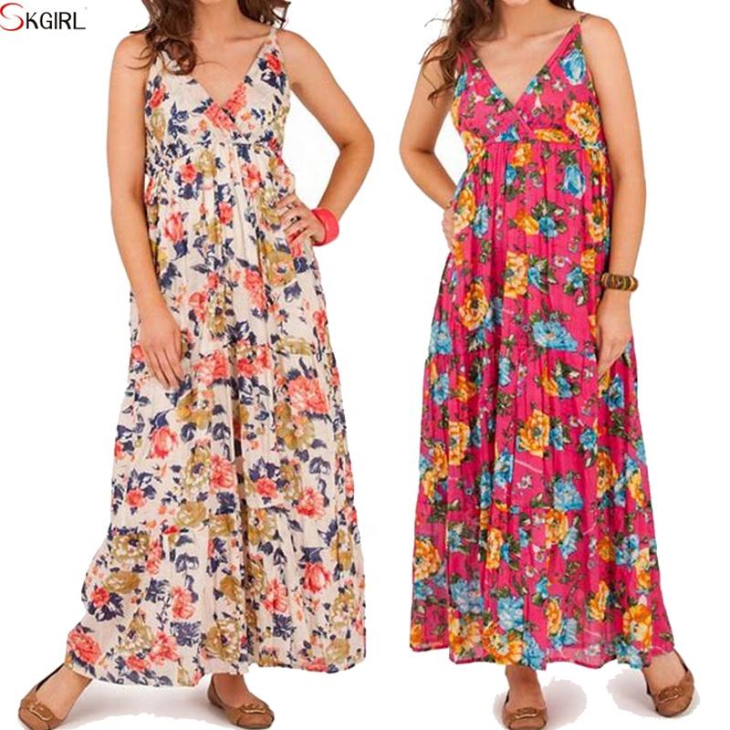 b9d08ed77463f المطبوعة الزهور أكمام الخامس الرقبة ماكسي كامل طول بوهو 100% فساتين قطنية  السيدات النساء طويلة