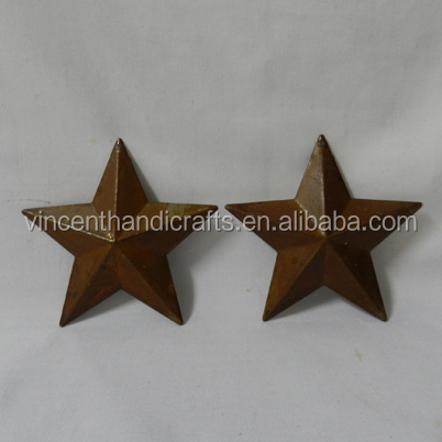 """Primitive 3 piece RUSTIC BARN STAR ORNAMENT with CUTOUT PUNCHED DESIGNS 1.5/"""""""