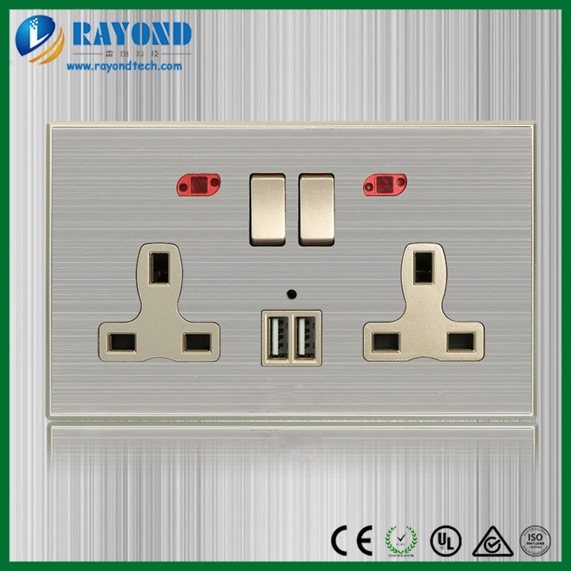 Renovation Brushed Stainless Steel 2 Gang 13A UK Power Socket with 5V/2.1A Twin USB Charger