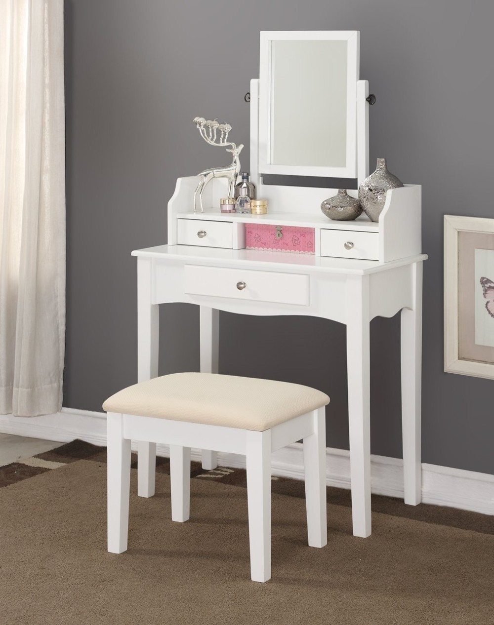 Simple White Color Wooden Dressing Table With Modern Design Make Up Table